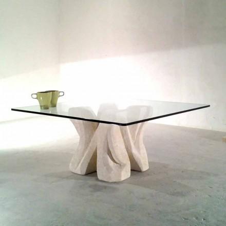Nástěnný konferenční stolek Vicenza a ručně vyřezávaný křišťál Kos