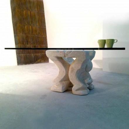 Náměstí stolu ručně vyřezávané v Vicenza Stone Medusa-S