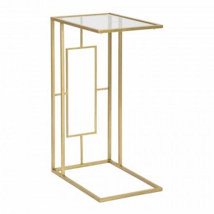 Obdélníkový konferenční stolek v železe a moderním skle - Albertino