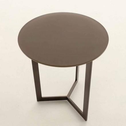 Kulatý konferenční stolek s křišťálovou deskou vyrobený v Itálii - Indio