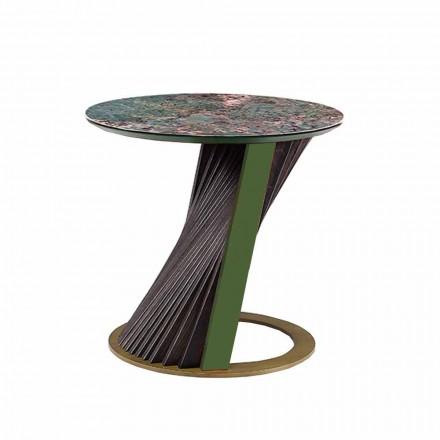 Luxusní kulatý konferenční stolek v Gresu a jasanu vyrobený v Itálii - Bering