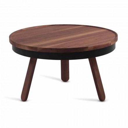 Kulatý designový konferenční stolek z masivního dřeva a kovu - Salerno