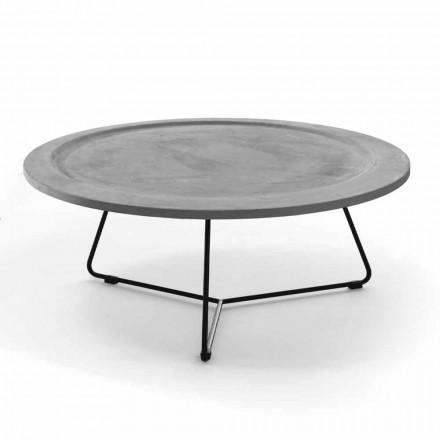 Kulatý konferenční stolek z betonu a černého kovu vyrobený v Itálii - Evolve