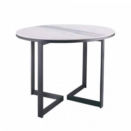 Kulatý konferenční stolek v Gresu a moderním kovu vyrobené v Itálii - Albert
