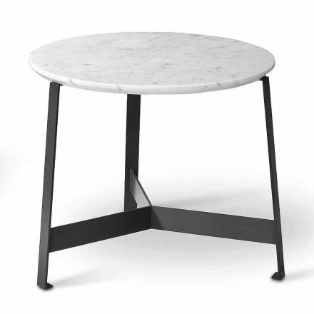 Kulatý mramorový konferenční stolek s kovovou základnou vyrobený v Itálii - Juliana