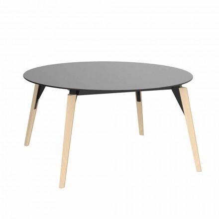 Kulatý dřevěný konferenční stolek a deska Hpl ve 2 velikostech - dřevo Faz od společnosti Vondom