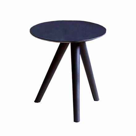 Kulatý konferenční stolek z černě šedého lakovaného dřeva vyrobený v Itálii - Stuttgart