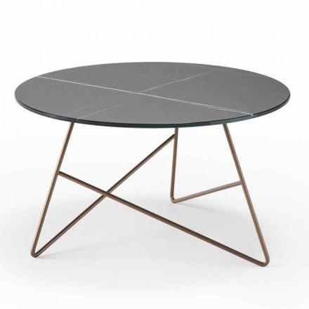 Kulatý kovový konferenční stolek se skleněnou deskou z mramoru - Magali