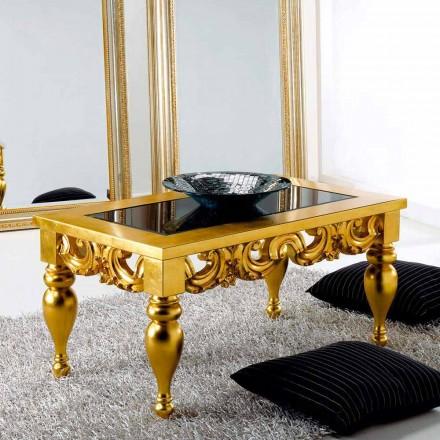 Konferenční stolek klasického designu v Lof dřeva, zlatá povrchová úprava