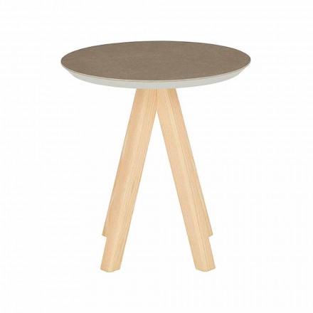 Kulatý konferenční stolek do obývacího pokoje z jasanového dřeva a keramické desky - Amerigo