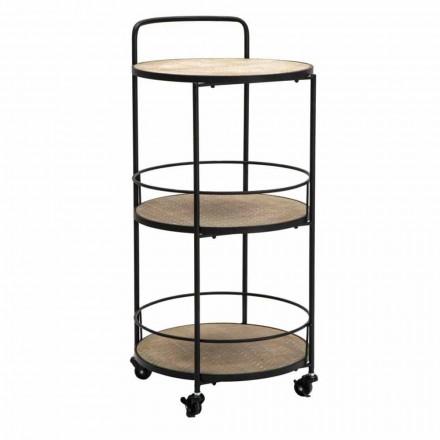 Moderní design konferenční stolek v železo a MDF s koly a 3 police - Lennox