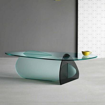 Designový stolek v průhledném, uzeném a leptaném skle Vyrobeno v Itálii - Tac Tac