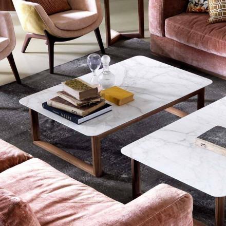 Grilli York design dřevěný a mramorový konferenční stolek vyrobený v Itálii