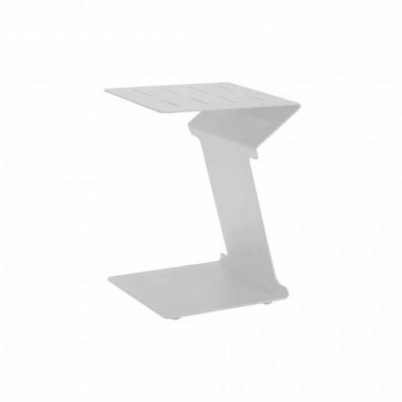 Odkládací stolek na pohovku pro venkovní použití v bílém nebo černém hliníku - Denix