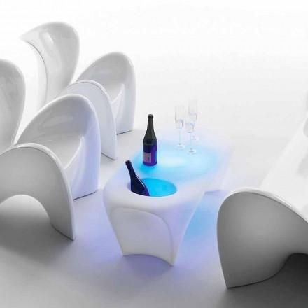 Světlý konferenční stolek s lahví sektu, venkovní nebo vnitřní design - Lily od Myyour