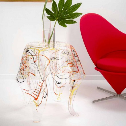 Moderní vícebarevné plexisklo konferenční stolek vyrobený v Itálii, Otto