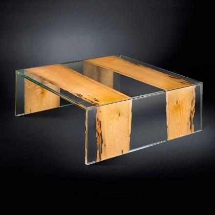 Moderní skleněný konferenční stolek a dřevěné Venetian Briccola