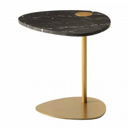 Konferenční stolek do obývacího pokoje z kovu a mramoru Marquinia, luxusní design - Yassine