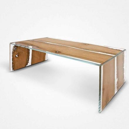 Obdélníkový konferenční stolek vyrobený ze skla a dřeva, delfín Venice Giudecca