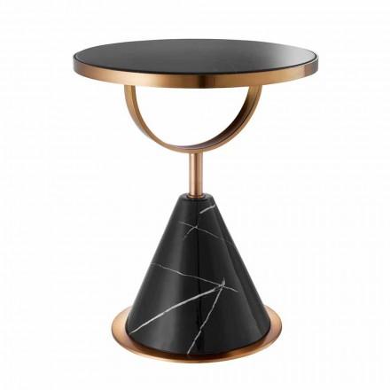 Kulatý konferenční stolek z oceli s měděným povrchem a moderním kamenem - Aprilia