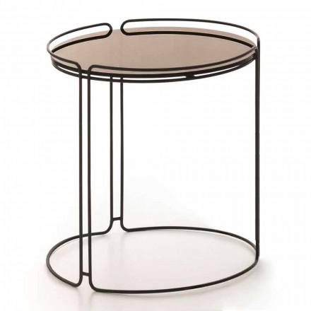Kulatý kovový konferenční stolek se skleněnou deskou vyrobený v Itálii - George