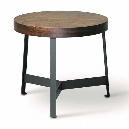 Kulatý konferenční stolek v mdf eukalyptu a kovovém provedení vyrobený v Itálii - Juliana
