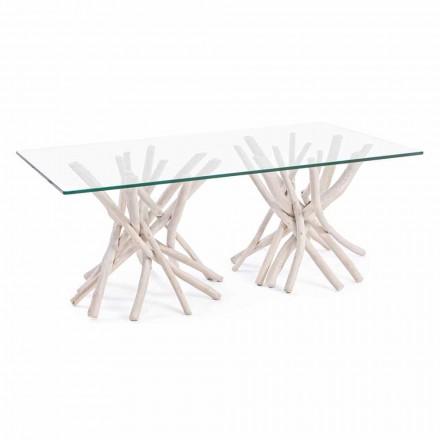 Konferenční stolek s tvrzeným sklem a teakovou základnou Homemotion - teak
