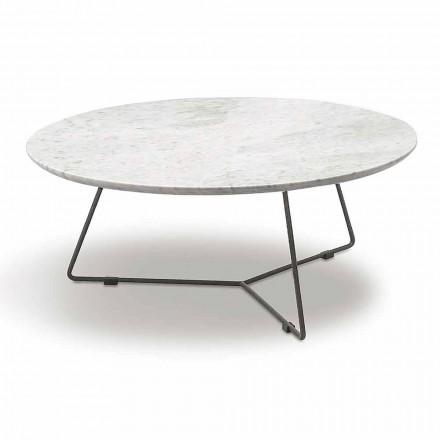 Konferenční stolek s kulatým mramorovým povrchem a kovovou základnou vyrobený v Itálii - Gin