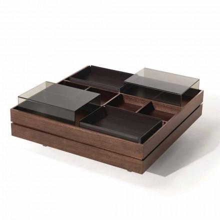 Konferenční stolek ze dřeva s detaily ze skla a kůže vyrobený v Itálii - Ermano