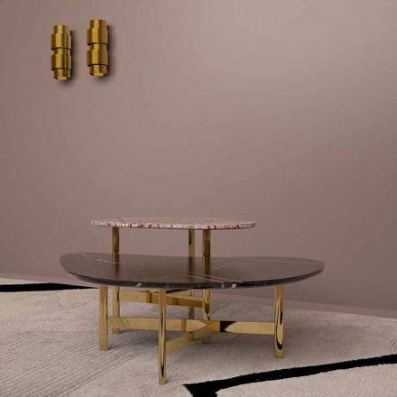 Luxusní konferenční stolek z černého mramoru nebo lesní hnědé Made v Itálii - Manolo