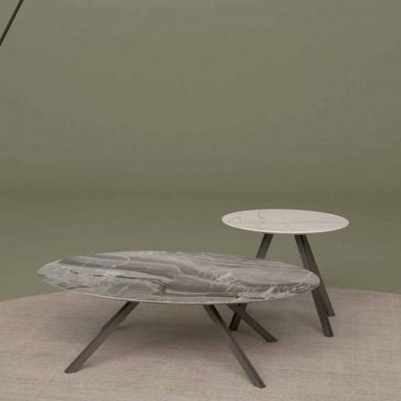 Lounge stůl v mramoru Orobico nebo Calacatta a Metal Made v Itálii - Sirena