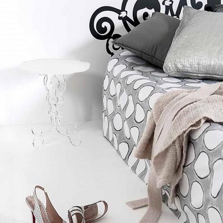 Bílý kulatý stůl o průměru 36 cm Moderní design Janis, made in Italy