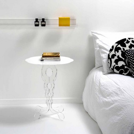Bílý kulatý stůl o průměru 50 cm Moderní design Janis, made in Italy