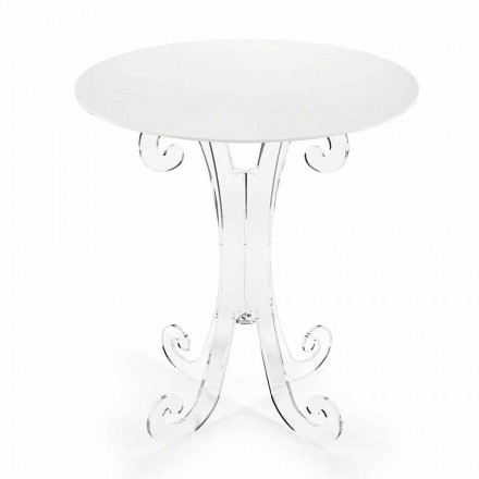 Kulatý konferenční stolek v průhledném a bílém plexiskle nebo se dřevem - Stilio