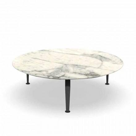 Kulatý zahradní stolek v Calacatta kamenina a hliník - Cruise by Alu Talenti