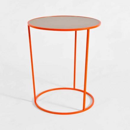 Moderní kulatý konferenční stolek z barevného kovu vyrobený v Itálii - Raphael