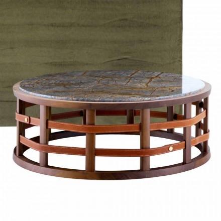 Kulatý stůl z masivního dřeva a mramor Grilli Harris vyráběný v Itálii