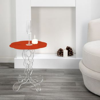 červená kulatý stůl o průměru 36 cm Janis moderní design, vyrobeno v Itálii
