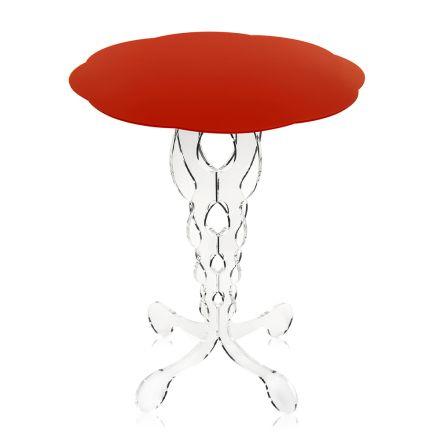 červená kulatý stůl o průměru 50 cm Janis moderní design, vyrobeno v Itálii