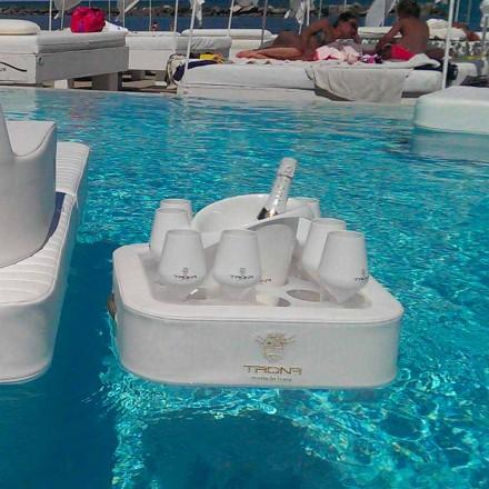 Konferenční stolek - plovoucí zásobník umělé kůže a plexiskla námořních Trona