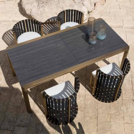 Rozkládací stůl 340 cm venkovní stolování z hliníku a skla nebo laminátu - Julie