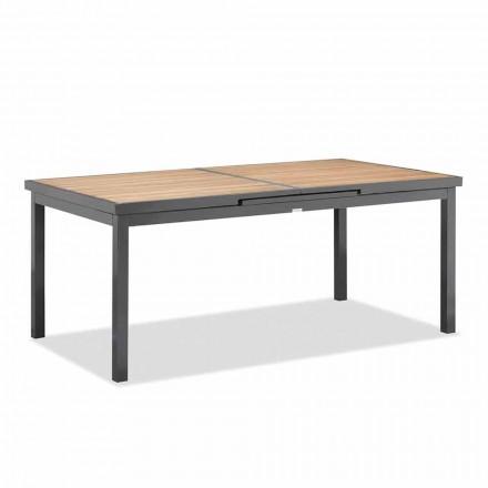 Rozšiřitelný na 240 cm venkovní stůl z hliníku a teakové desky - Bilel