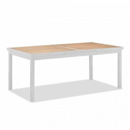 Roztažitelný venkovní stůl z hliníku a teakové desky - Bilel