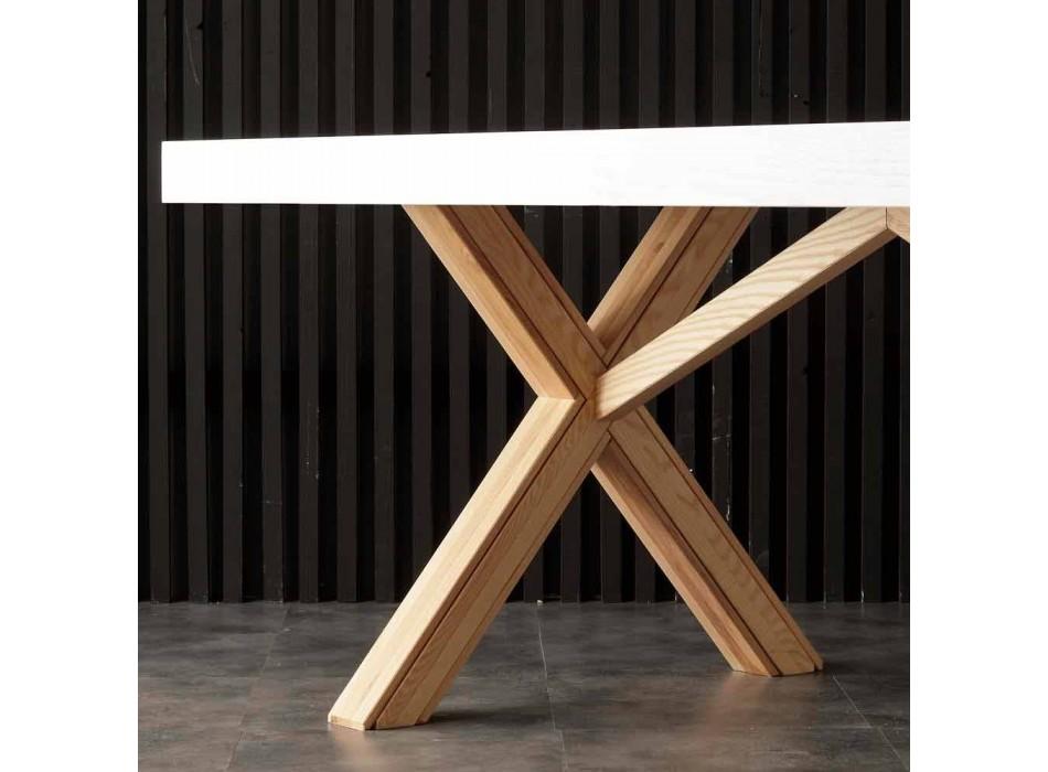 Bílý výsuvný stůl s přírodní pevná konstrukce Rico