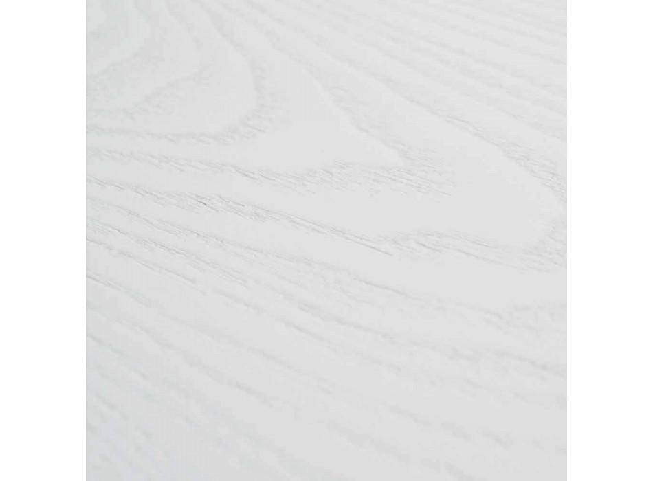Výsuvný bílý stůl se strukturou v přírodním pevném materiálu Rico