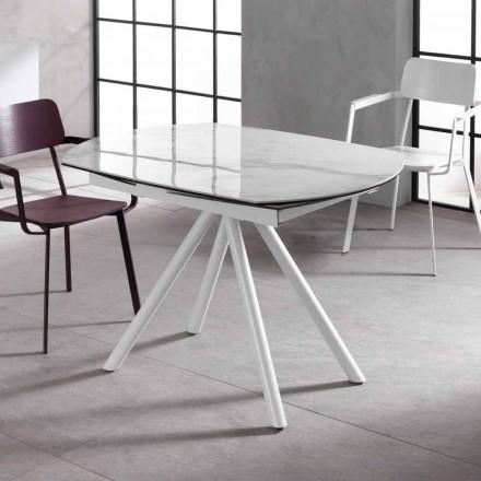 Rozkládací stůl s keramickou horní a kovovou nohou, Lozzolo