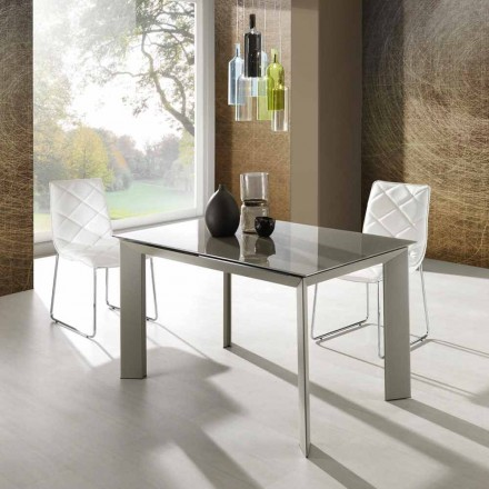 Zeno stůl s tmavošedý malované tvrzeného skla