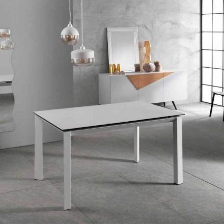 Moderní roztahovací stůl do 220 cm, bílá keramická hora, Nosate