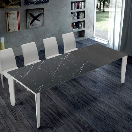Rozkládací kuchyňský stůl z mramoru a oceli vyrobený v Itálii - Settanta