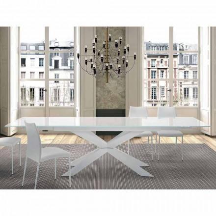 Rozkládací stůl do 300 cm ve skle a oceli vyrobené v Itálii - Grotta
